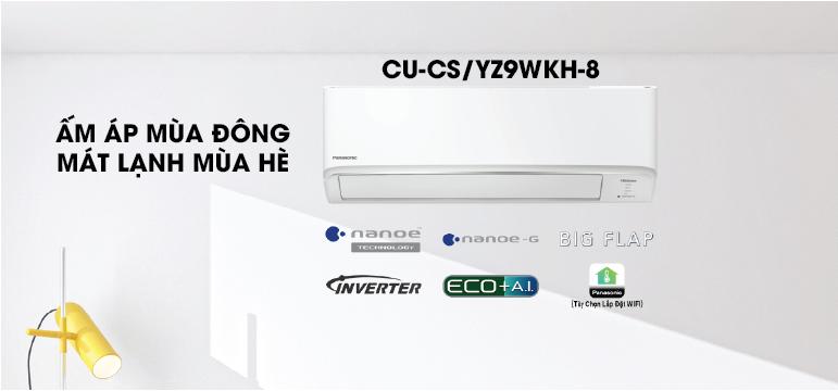 Điều hòa Panasonic 2 chiều inverter CU/CS-YZ9WKH-8