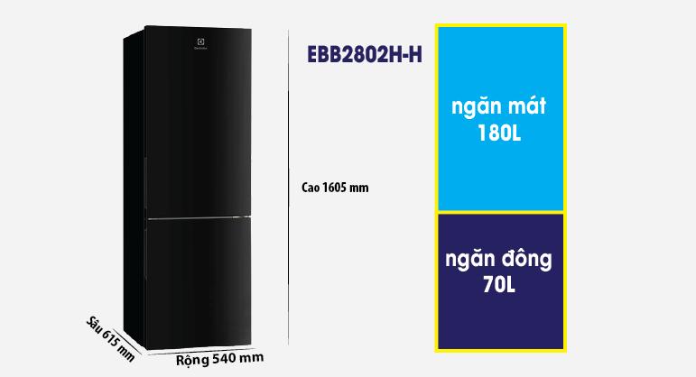 Thông số kích thước tủ lạnh Electrolux EBB2802HH