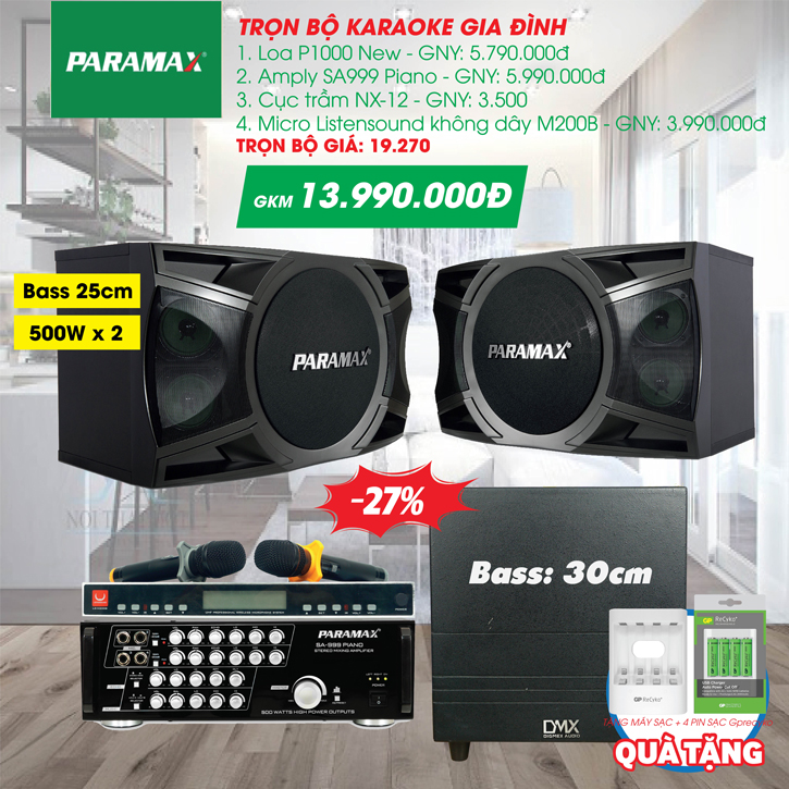 Dàn Karaoke Paramax AC2021-P1000-NEW